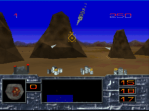 The 3D game has you panning a camera to target missiles.