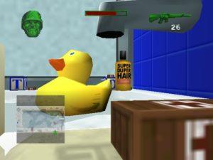 Battling for the bathtub. I'm hiding behind blocks of soap. SUBTLETY!