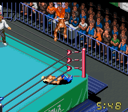 Sabu busts out a moonsault on Ric Flair as - dude, seriously, how is this game not awesome?